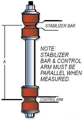universal sway bar endlink measurements